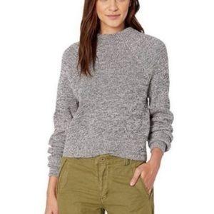 Free People Too Good Grey Marled Mock Neck Sweater